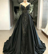 Gorgeous Mermaid Gothic Black Formal Dresses Arabic Evening Gown Party Prom Plus