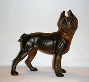 Boxer Dog Cast Iron Doorstop Hubley Antique Figure Early 1900and039s Original Finish