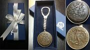 Superb Silver Key Chain W/ Authentic Ancient Greek Coin Of Ptolemy Zeus Eagle