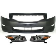 Set Of 3 Headlights Lamps Front Coupe For Honda Accord 2008-2010