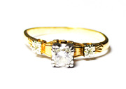 Antique 14k And 18k Gold Wedding Ring 1/4ct Diamond 4.5mm Size 5 Two Tone