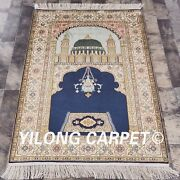 Yilong 2.8and039x4and039 Small Handmade Prayer Silk Rug Blue Hand Knotted Silk Carpet L67b