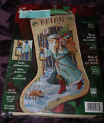 Vtg Bucilla Father Christmas Counted Cross Stitch Stocking Kit Rossi 84636