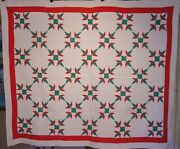 Antique Christmas Cactus Quilt C 1930 One Of A Pair Listed