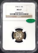 1945 S Mercury Dime Certified Ms 67 By Ngc And Cac Superb Toning