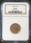 1914 Proof Buffalo Nickel Graded Pf 66 By Ngc Great Toning Only 1275 Minted