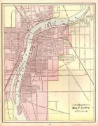 1901 Antique Bay City Michigan Street Map Collectible Map Of Bay City 4448