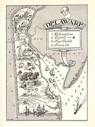 1950s Antique Delaware State Map Vintage Delaware Picture Map Bw 2333