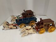 Vintage Toys Cast Iron Horse Carriage Lot With People