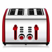 Four Slot Toaster 4 Slice Bread For Large Compact Kitchen Toast Breakfast Best