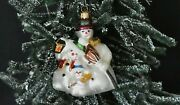 Made In Germany For Nordstrom Snowman Family Glass Christmas Ornament W/box Xlnt