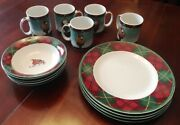 Block By Gear - Father Christmas 14 Piece Set Mugs Cereal Bowls Dinner Plates