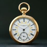 E. Bourquin And Fils Geneva Solid 18k Yellow Gold Large Pocket Watch