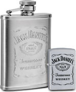 Zippo Jack Daniels Hip Flask And Lighter Set New In Gift Box