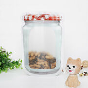 Glass Jar Style Plastic Self-standing Zip Seal Pouch For Snack Products 17x24cm