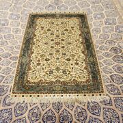 Yilong 3and039x5and039 Beige Hand-knotted Silk Carpet High Density Antique Parlor Rug 289h