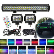 20 Inch 126w Led Light Bar + 4 In 18w Spot Pods With Rgb Halo Chasing Multicolor
