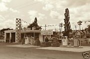 Vintage Extremely Rare White Rose Gas Station Pumps Island Coca-cola 5x7 B/w