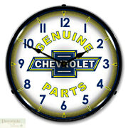 Chevrolet Genuine Parts Logo Wall Clock 14 Led Lighted Backlit Chevy Gm Usa New