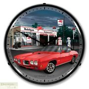 1970 Gto Pontiac Red Muscle Car Mobilgas Wall Clock 14 Led Lighted Back Usa New