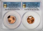 2000 Pcgs Ms64/63rd Rare 2 Coin Holder Mated Pair Lincoln Cent Mint Errors Wow