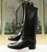 New Womens Authentic Tod's Black Leather Tall Riding Equestrian Boots Size 41/11