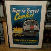 Large Vintage New York Central Rairoad Poster Tops In Travel Comfort