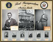 1st Inauguration Of Abraham Lincoln,vp Hamlin And Cabinet Plus Signatures 16 X 20