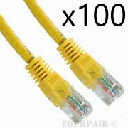 100 Pack Lot 25ft Cat6 Ethernet Network Lan Router Patch Cable Cord Wire Yellow
