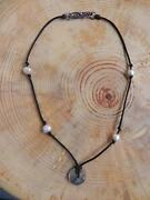 Abalone Pearl Black Cord And Sterling Silver Necklace Choker 15