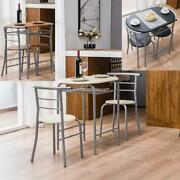 Modern High Gloss Dining Table And 2 Chairs Set Metal Frame Kitchen 5 Colors New