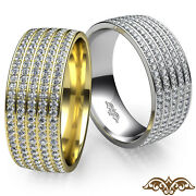 Micro Pave Setting 5 Row Diamond Menand039s Eternity Wedding Band Gold Ring 1.50 Ct.