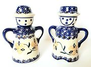 Polish Pottery Man Woman Figures Salt Pepper Shakers Made In Poland