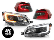 Switchback C Led Drl Black Headlight+cherry Red/smoke Tail Lights For 15-19 Wrx