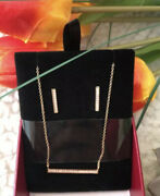 Cz Kenneth Jay Lane Fine Jewelry Studded Bar Pendant Necklace And Earring Gift Set