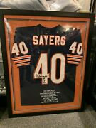 Gale Sayers Chicago Bears 32x41 Nicely Framed Signed Stats Jersey Online Auth