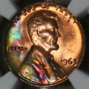 1963 Lincoln 1c Ngc Ms64 Rb Colorful Rainbow Bag Toned Mikesartifacts
