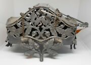 Pairpoint Oak And Acorn Trinket Basket Footed Quad Silverplate 915 Rare