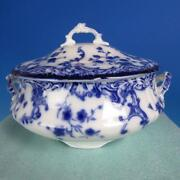 Wm. Grindley Flow Blue - Marie - Round Covered Soup Tureen Bowl