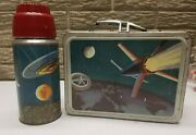 Satellite Outer Space Exploration Vintage Original Metal Lunch Box + Thermos '58