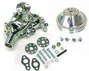 Small Block Chevy Chrome Long Aluminum Water Pump + 2 Double Groove Pulley Kit