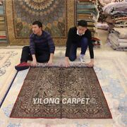 Yilong 4'x6' Old World Hand Knotted Silk Area Rug Antique Handmade Carpet 019b