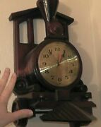 Small Wooden Train Clock Wood Steam Locomotive Working It Works Rare Mantle
