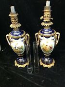 Pair Of Antique Handpainted Oil Burning Lamps Need Restoration Figural And Floral