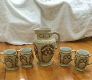 Villeroy And Boch Mettlach Code Of Arms Pitcher And Mugs Vintage Rare Signed Stein