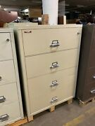 4dr 37 1/2w Lateral Fire-proof File Cabinet By Fireking W/ Lock And Key In Putty
