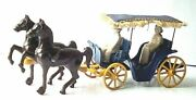 Stanley Toys 1940 Cast Iron Horse Drawn Carriage Wagon With Driver + Lady Rider
