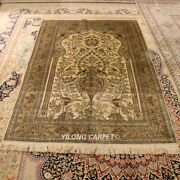 Yilong 4and039x6and039 300lines Handcraft Rug Vase Pattern Hand Knotted Silk Carpets L129a