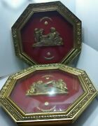 Antique Gold Red Oct Pair Oagon Wall Pictures/hanging Vintage Woman And Child 23