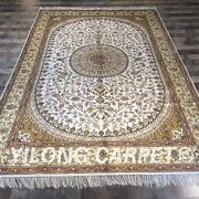 Yilong 6and039x9and039 Ivory Hand Knotted Area Rug Home Vintage Handmade Silk Carpet W154c